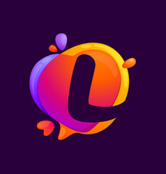 L letter at colorful speech bubble and heart vector