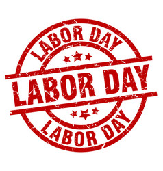 Labor day round red grunge stamp vector