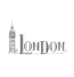London lettering with the Big Ben vector image