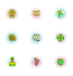 March 17 Saint Patrick day icons set vector