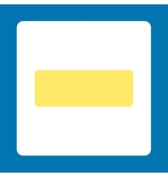 Minus flat yellow and white colors rounded button vector