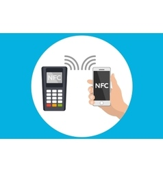 Mobile pos terminal Paypass NFC technology vector