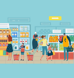 people in store customer choose food supermarket vector image