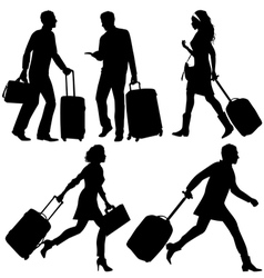People silhouettes in a hurry at the airport vector