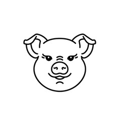Pig icon head piggy thin line art design vector