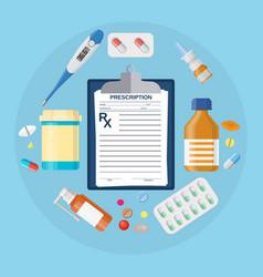 Pills bottles tablets with medical prescription vector