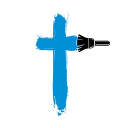 Religious cross simple created with smudge b vector image