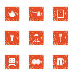 Rest of the house icons set grunge style vector