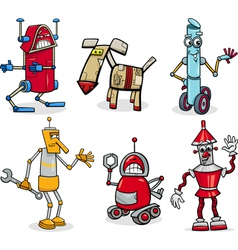 robots cartoon set vector image