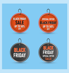 Round black friday sale banner in red and black vector