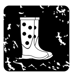Rubber boots icon grunge style vector