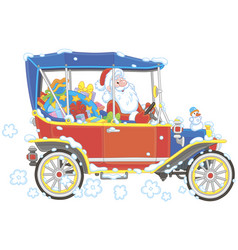 santa claus driving his car with gifts vector image