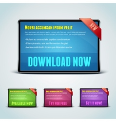 set 4 download banners for your website vector image
