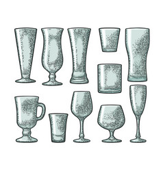 set empty glass beer whiskey wine gin rum vector image