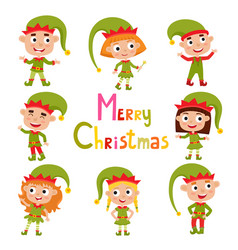 set of cute little christmas girls and boys elf vector image