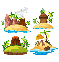 set of isolated island vector image