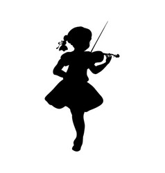 silhouette girl music plays violin vector image