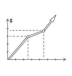 sketch raising graph chart chart icon vector image