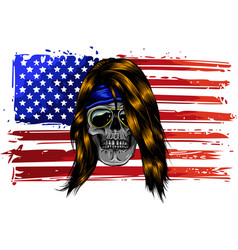 skull with american flag vector image
