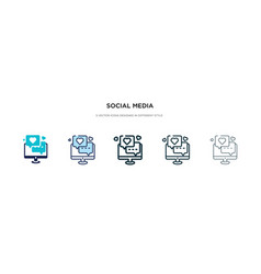 social media icon in different style two colored vector image