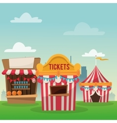 Striped ticket tent of carnival design vector