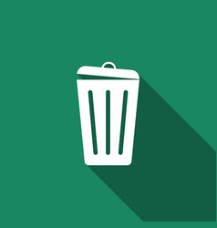 trash can icon with long shadow garbage bin sign vector image