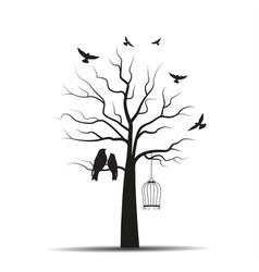 tree with cages and birds vector image