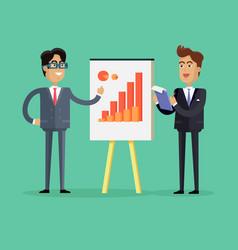 Two businessmen make a presentation vector