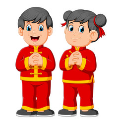 Two children are giving a greeting vector