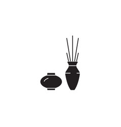 two vases interior black concept icon two vector image
