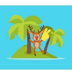 Vacation on Tropic Island Cartoon Concept vector