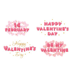 Valentines day banners set decorative glossy vector