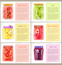 Veggie conserve and fruit preserve glass jars set vector