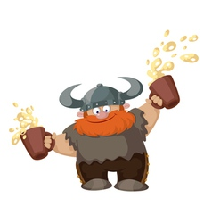 viking with two beer vector image