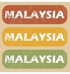 Vintage Malaysia stamp set vector