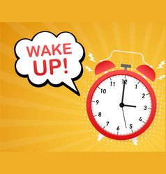 wake up poster with alarm clock stock vector image