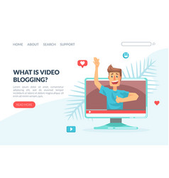 what is video blogging landing page template vector image