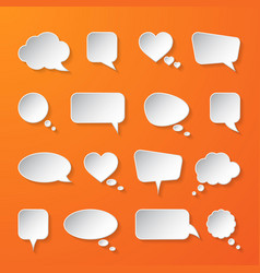 white paper speech bubbles on orange background vector image