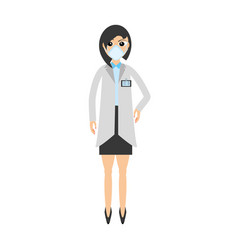 woman doctor medical mask vector image
