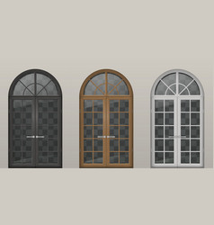 Wooden arched doors vector