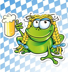 funny frog cartoon with beer glass vector image vector image