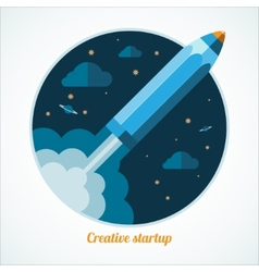 Modern startup concept with starting pen rocket vector image