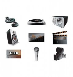 music audio icon set vector image vector image