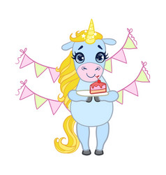 cartoon light blue unicorn holding a plate with vector image vector image