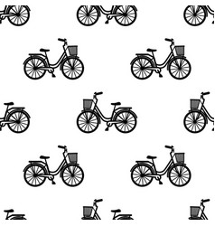 bike with basket seamless pattern vector image vector image