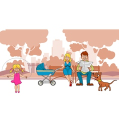 Cartoon ideal family are in the park vector image vector image