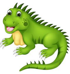 cute iguana cartoon posing with laughing vector image