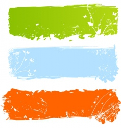 grungy multicolored banners with florals vector image vector image