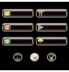 Internet buttons gold and with precious stones vector image