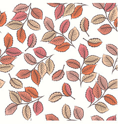 Seamless pattern with cute leaves vector